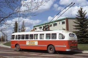 This vintage Brill T-44 trolley is seen running in Belgravia in May of 1974 about two blocks from where I now live. (Courtesy of Angus McIntyre of Vancouver.)