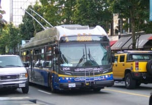 A modern low-floor trolley in service in Vancouver. Same chassis as diesel New Flyer ETS buses.