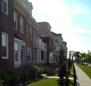 Old-world feel brownstones at Griesbach - built with custom zoning.