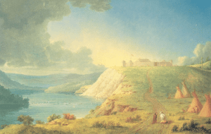 Paul Kane's portrait of Fort Edmonton. Likely painted while in the Rossdale area.