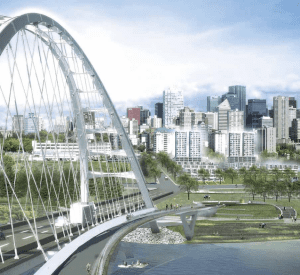 The new Walterdale Bridge, looking into a re-imagined River Crossing. Conceptual only.